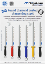 Round diamond coated sharpening steel